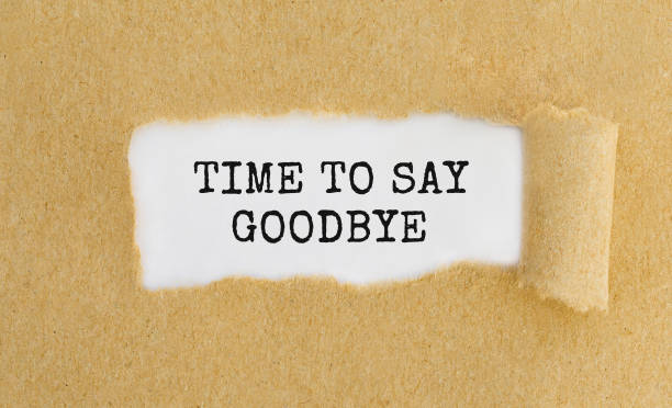 text time to say goodbye appearing behind ripped brown paper. - separation stock photos and pictures