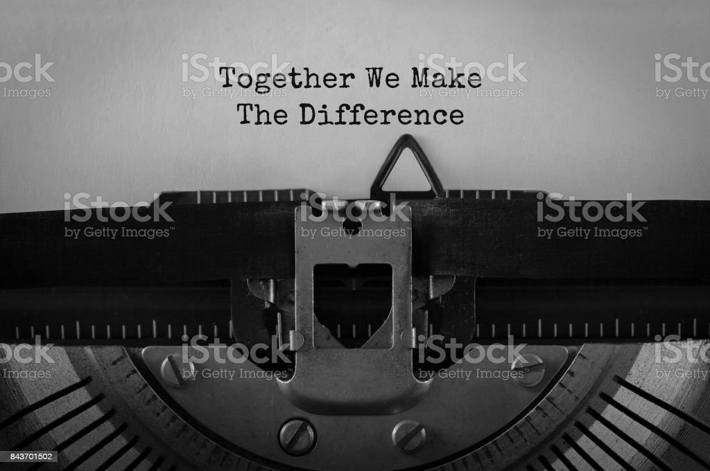 Text Together We Make The Difference typed on retro typewriter – zdjęcie