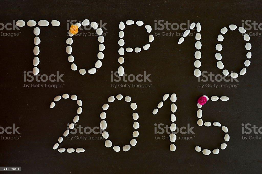 Text 'Top 10 2015' stock photo