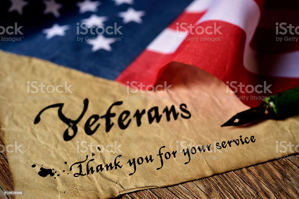 text veterans than you for your service - foto de stock
