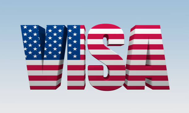 text visa is painted flag of America text visa is painted flag of America. 3d rendering Anglo American stock pictures, royalty-free photos & images