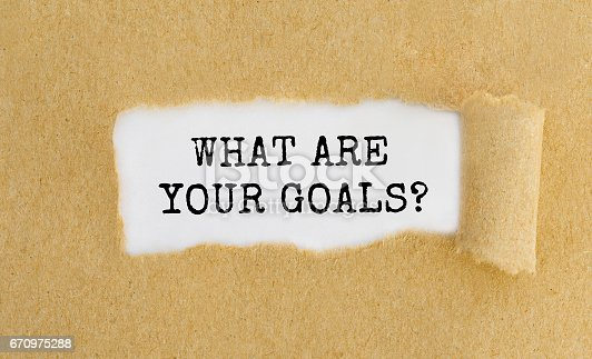 istock Text What Are Your Goals appearing behind ripped brown paper. 670975288