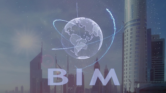 istock BIM text with 3d hologram of the planet Earth against the backdrop of the modern metropolis 1093230450