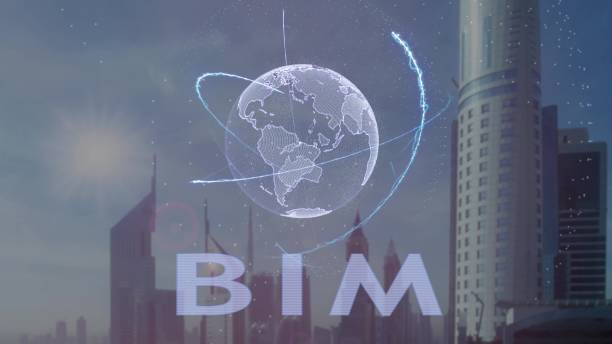 Texte BIM avec hologramme 3d de la planète terre dans le contexte de la métropole moderne - Photo