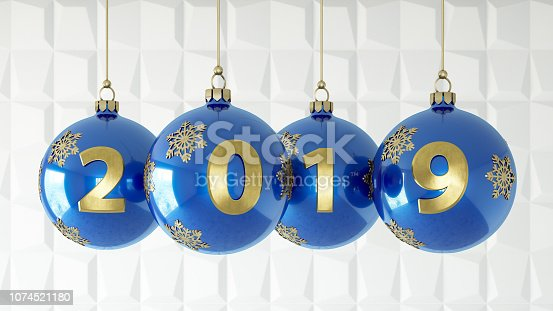 istock 2019 Text with Blue Christmas Ornaments 1074521180