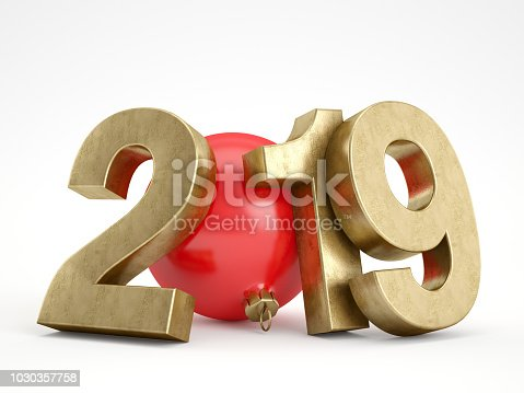 istock 2019 Text with Christmas Ornament 1030357758