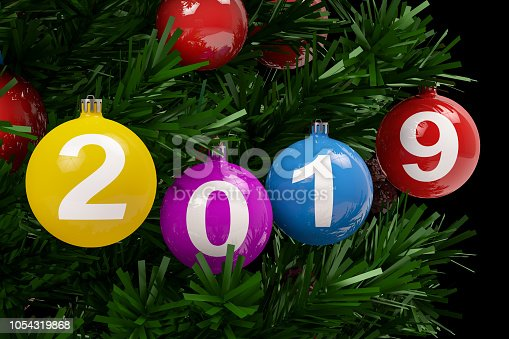 istock 2019 Text with Christmas Ornament 1054319868