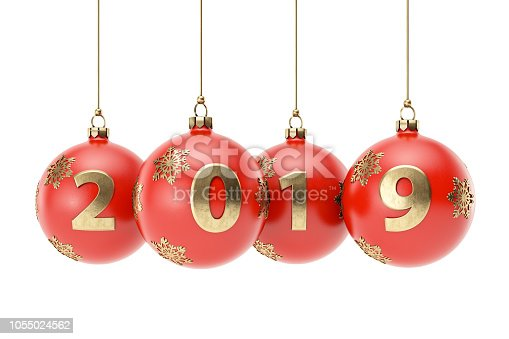 istock 2019 Text with Christmas Ornament 1055024562