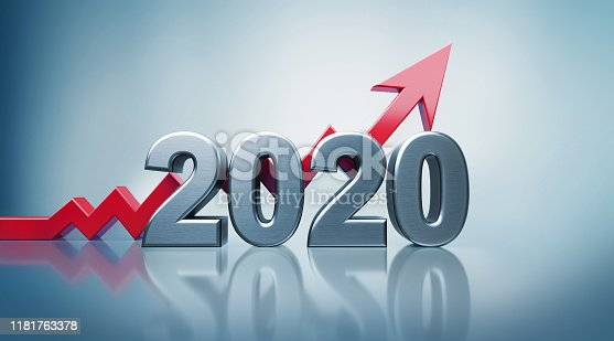 istock 2020 Text with Red Arrow Moving Up on Defocused Background 1181763378
