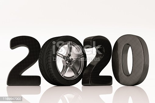 2020 Text with Tire. Car Sales Concept. 3D render
