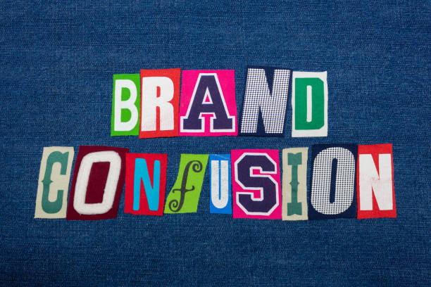 BRAND CONFUSION text word collage, colorful fabric on blue denim, marketing inconsistency BRAND CONFUSION text word collage, colorful fabric on blue denim, marketing inconsistency, horizontal aspect disjointed stock pictures, royalty-free photos & images