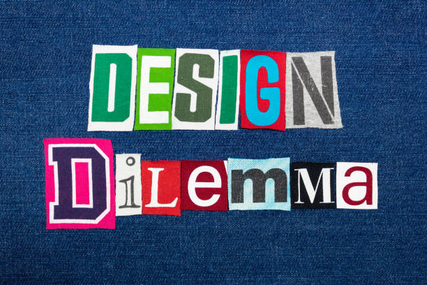 DESIGN DILEMMA text word collage, colorful fabric on blue denim, marketing inconsistency DESIGN DILEMMA text word collage, colorful fabric on blue denim, marketing inconsistency, horizontal aspect disjointed stock pictures, royalty-free photos & images