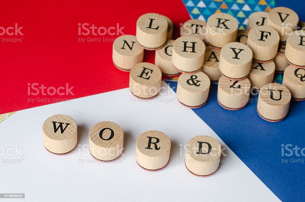Text WORD on wooden stamps. stock photo
