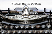 istock Text Words Have Power typed on retro typewriter 1165597656