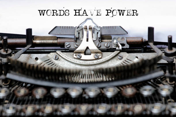 Text Words Have Power typed on retro typewriter Text Words Have Power typed on retro typewriter single word stock pictures, royalty-free photos & images