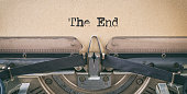 Text written with a vintage typewriter -  The end
