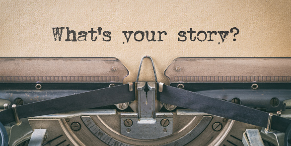Text written with a vintage typewriter -  What's your story