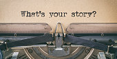 istock Text written with a vintage typewriter -  What's your story 1220918615