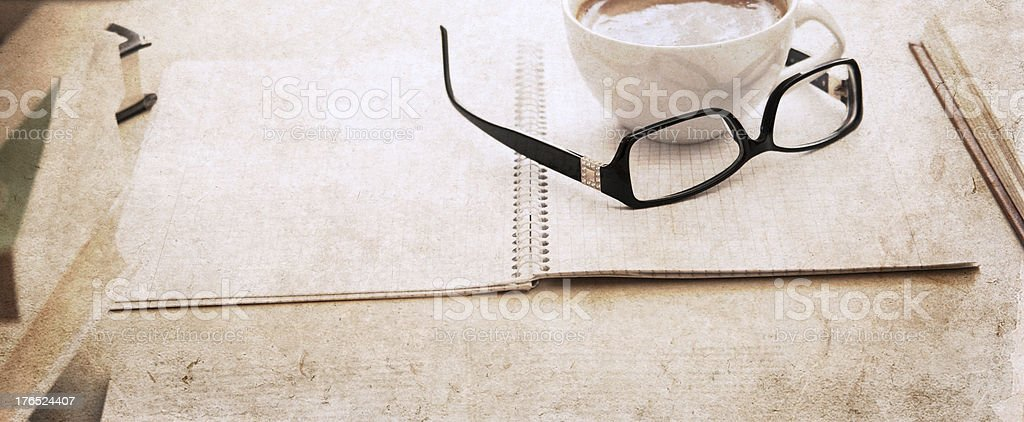 textbook, glasses and cup of coffee royalty-free stock photo