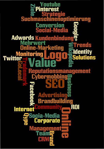 SEO-textcloud przed czarnym tle Suchmaschinenoptimierung Suchmaschinenmarketing marketingu Online – zdjęcie