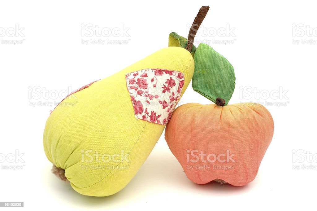 Textile apples and pears royalty-free stock photo