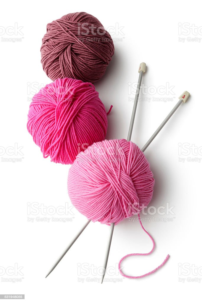 Textile: Balls of Wool and Knitting Needles stock photo
