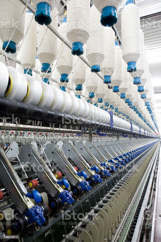 Textile factory with streamline production line stock photo