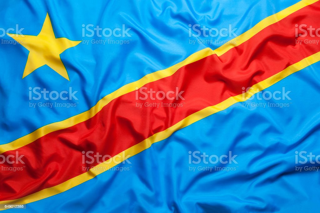 Textile flag of Congo stock photo