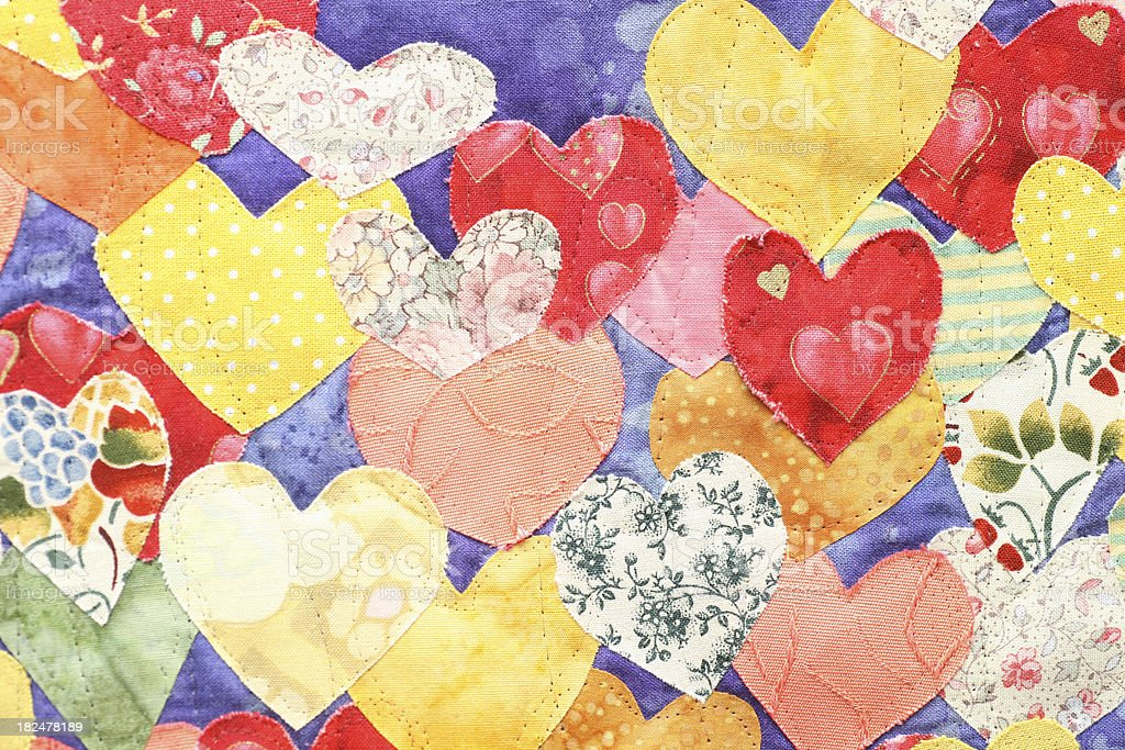 Textile hearts patchwork stock photo