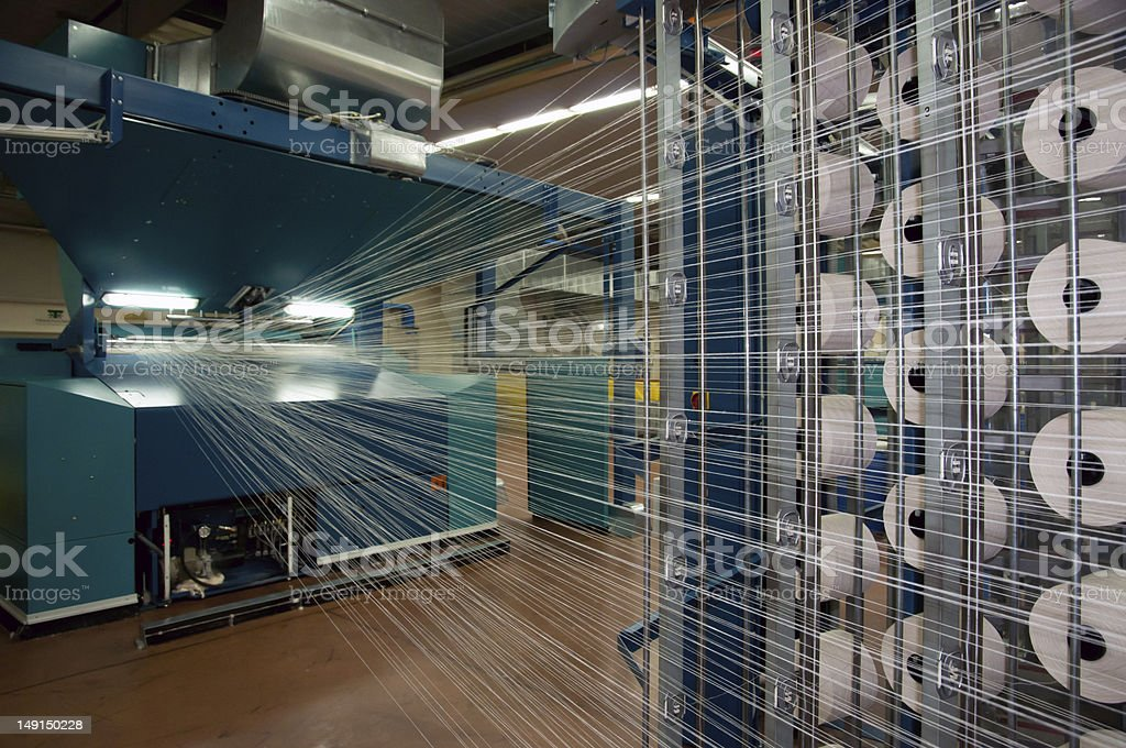 Textile industry (denim) - Weaving and warping stock photo