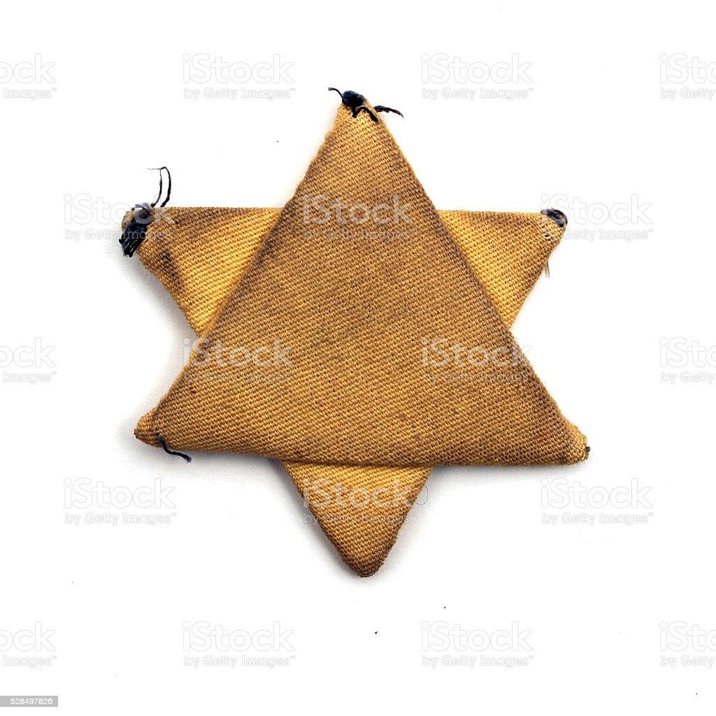 Textile jewish six-pointed star stock photo