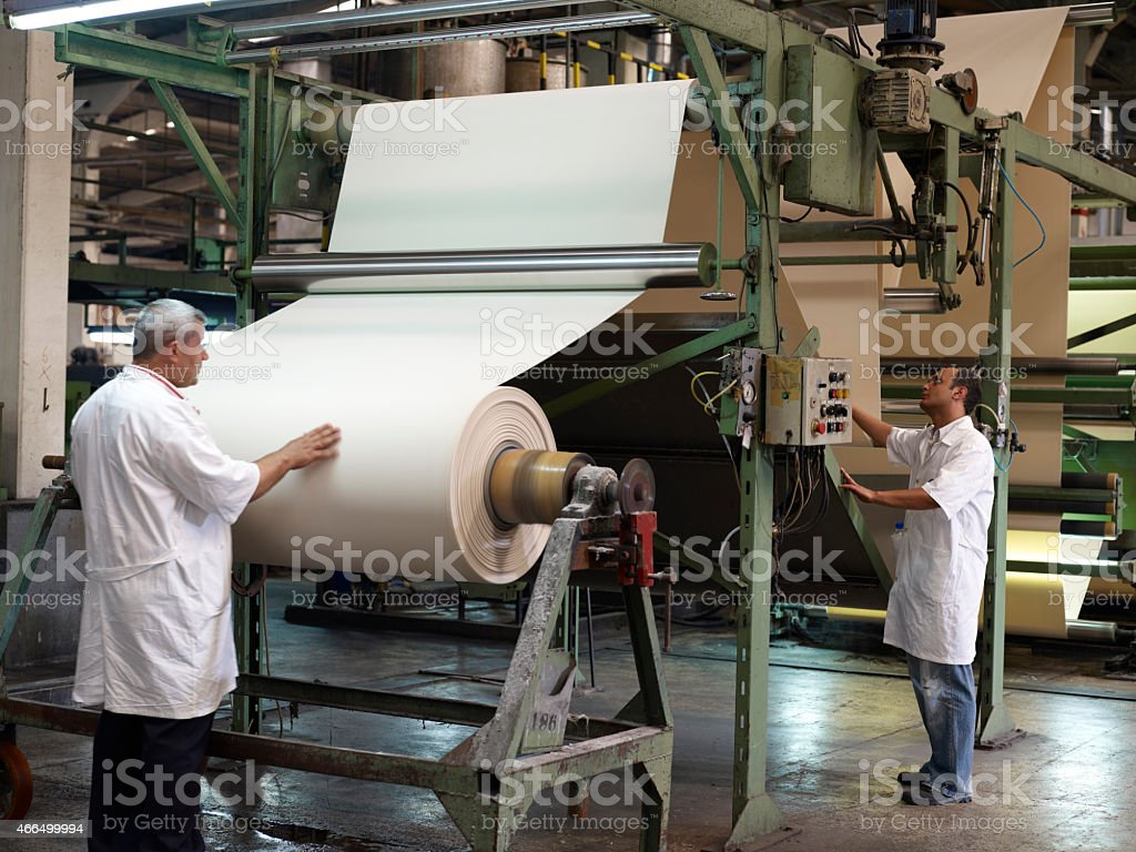 Textile Mill and workers stock photo