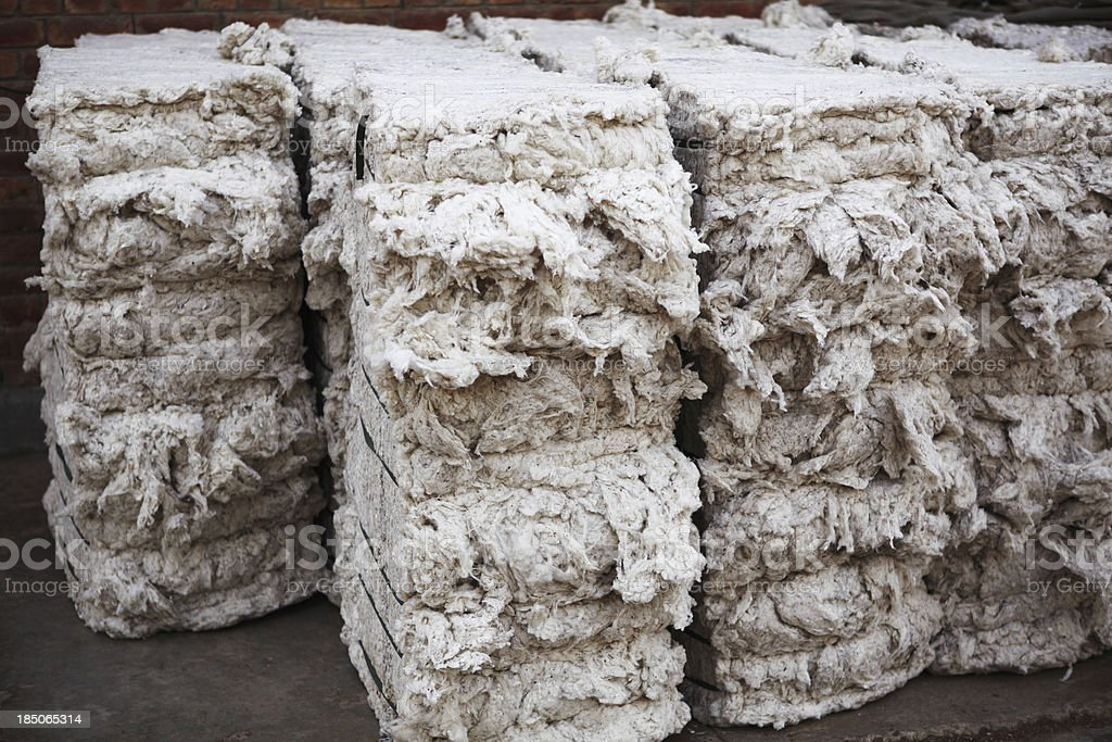 Textile Mill - Organic Cotton Bales stock photo