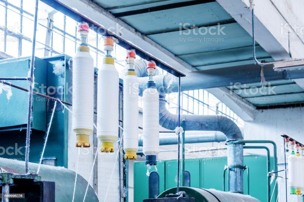 Textile mill workshop stock photo
