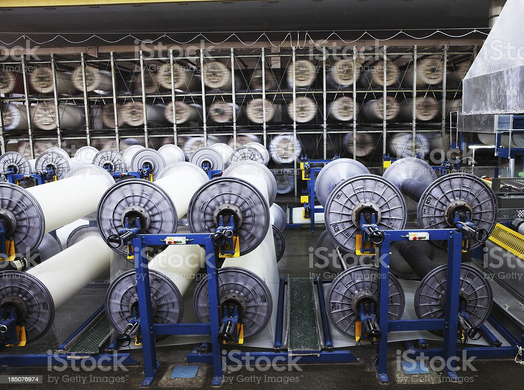 Textile Production - Weaving, Sizing Machine and Drying Rack royalty-free stock photo