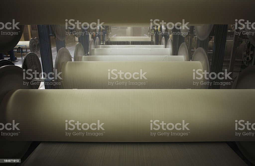 Textile Production - Weaving, Sizing Machine stock photo