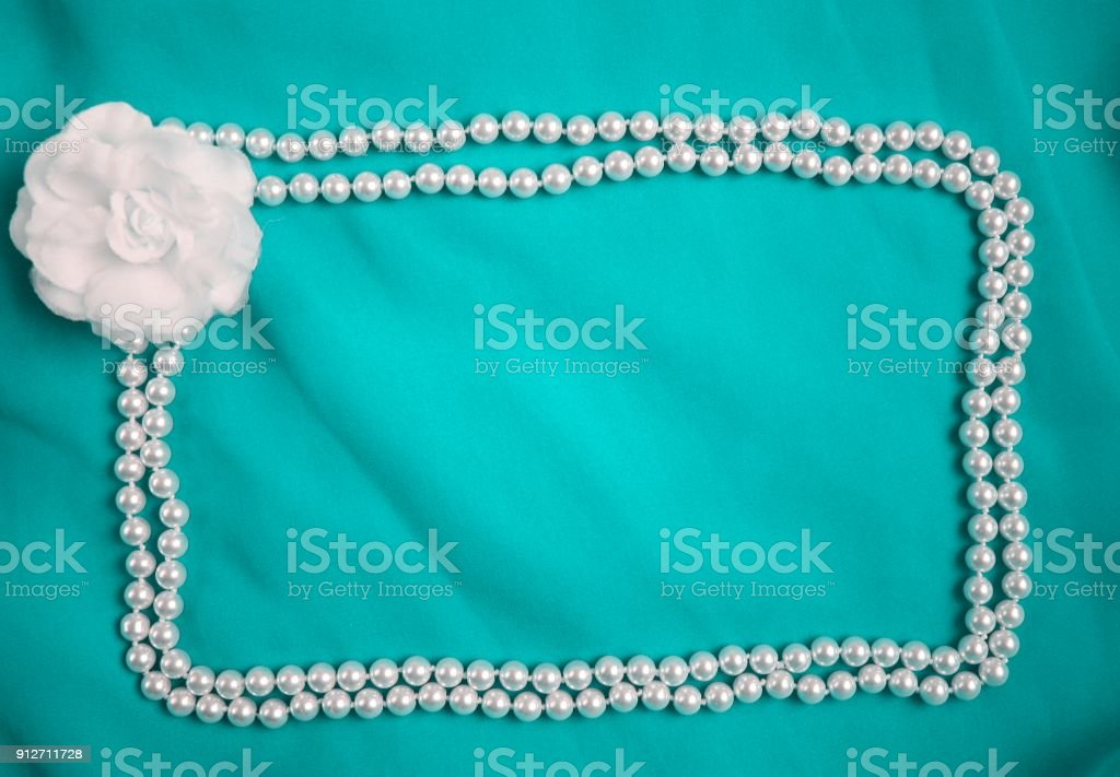 Textile Rose And Beads Frame Cyan Blue Wedding Glamour Photo Background Stock Photo Download Image Now Istock
