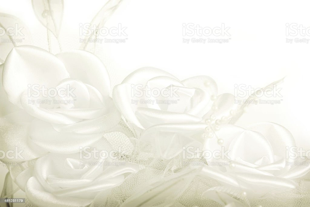 Textile roses from wedding decoration stock photo