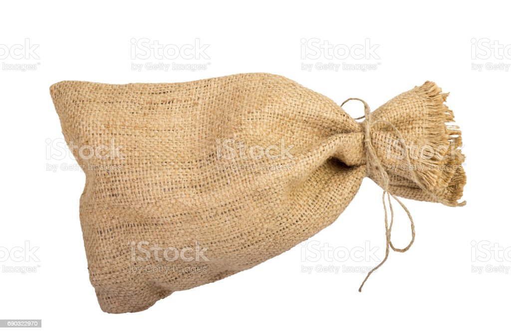 Textile sack with empty space stock photo