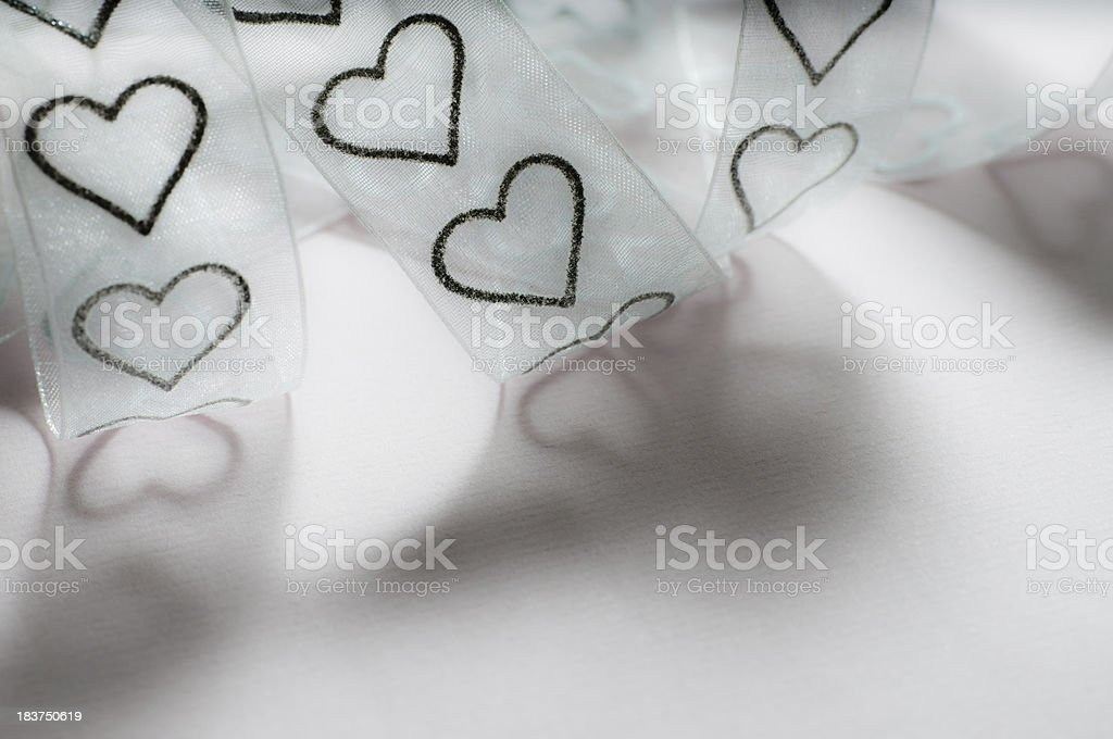 textile tulle ribbon with hearts royalty-free stock photo