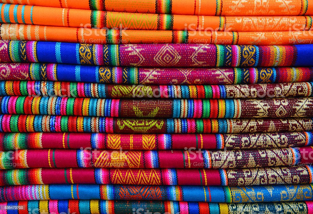 Textiles of Ecuador stock photo