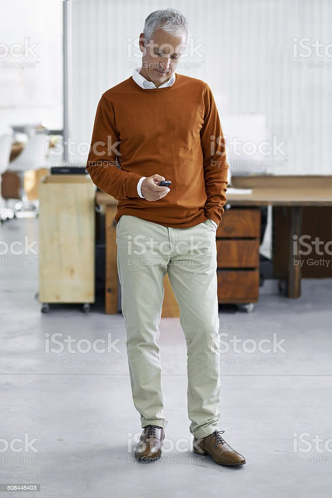 Texting a client stock photo