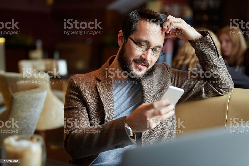 Texting a message stock photo