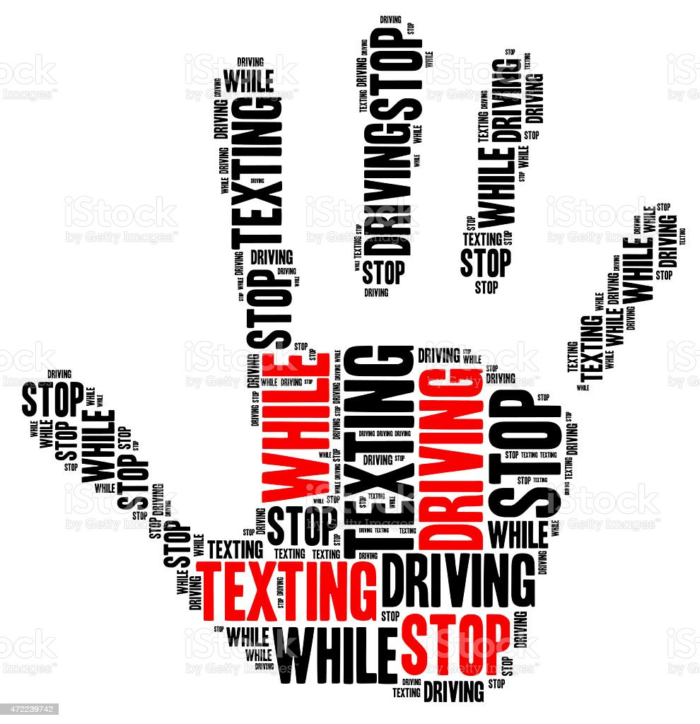 Texting and driving. Warning message. stock photo