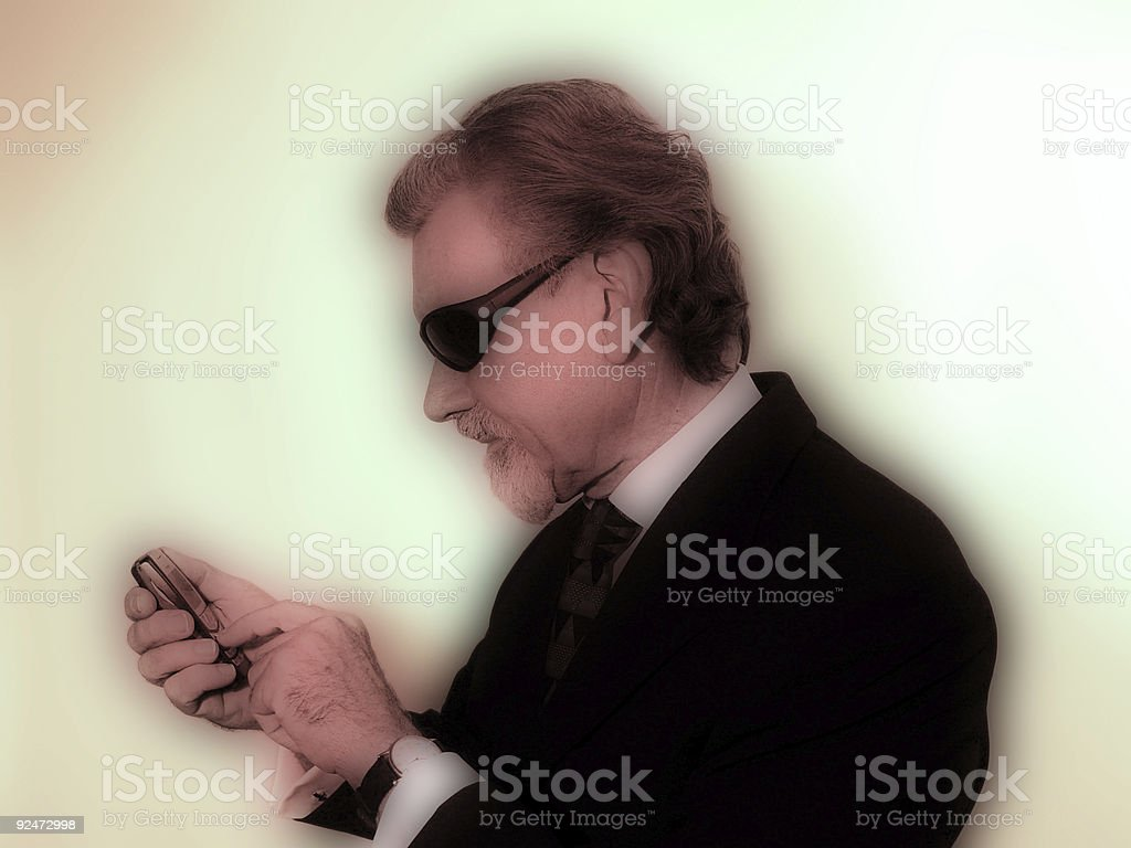 Texting businessman - mod colors royalty-free stock photo