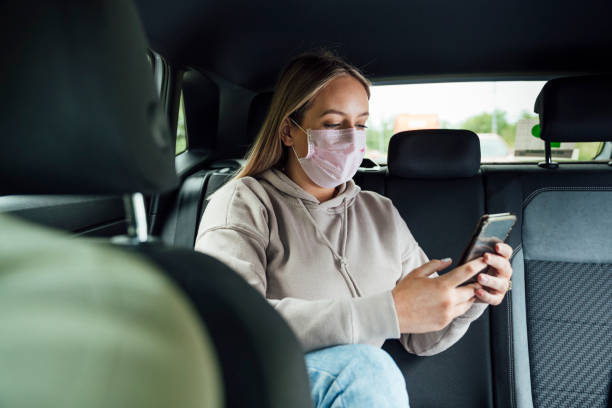 Texting From My Taxi stock photo