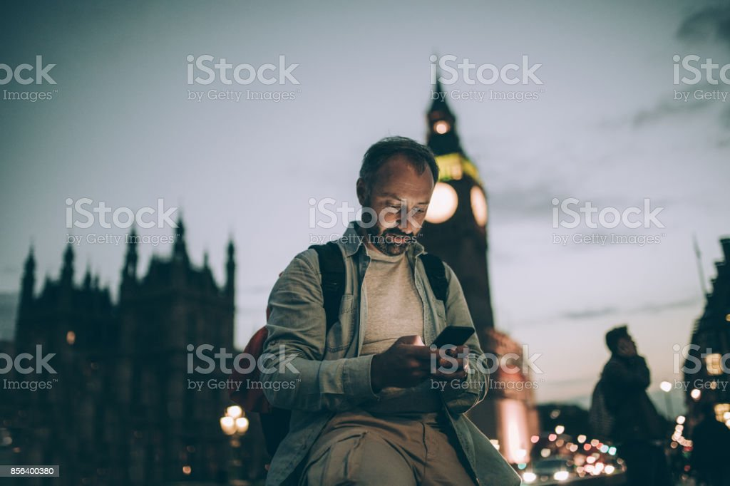 Texting home stock photo