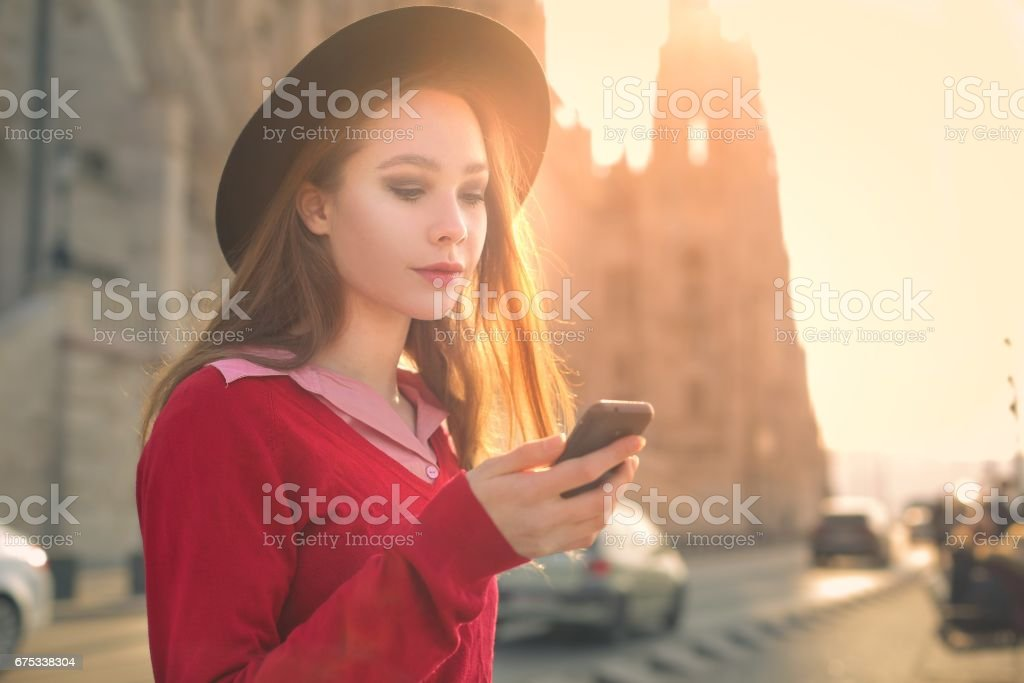 Texting in Budapest stock photo