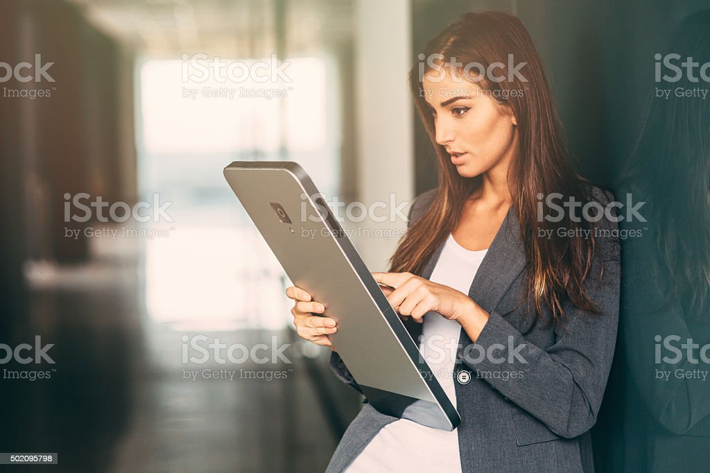 Texting On A Large Smart Phone stock photo