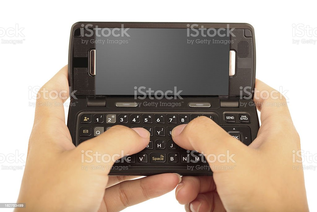 texting on black cell phone royalty-free stock photo